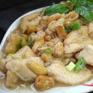 poulet aux cacahuètes et noix de cajou