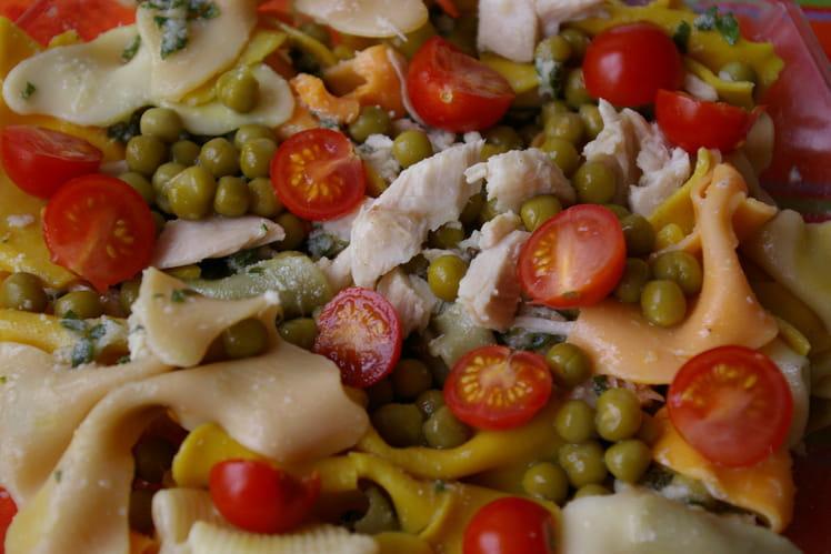 Salade de pâtes au poulet, petits pois et tomates