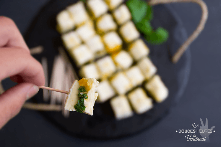 Dés de fromage coeur passion et menthe
