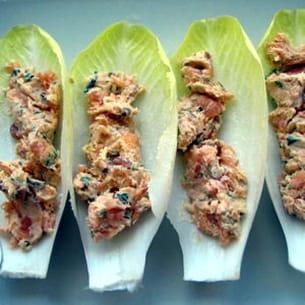 rillettes de saumon sur lit d'endive
