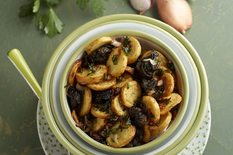 Pommes de terre Ratte du Touquet et sa fricassée d'escargots en persillade