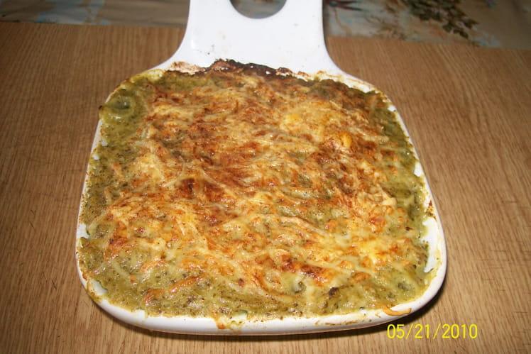 Purée de brocolis gratinée