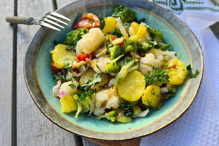 Salade pommes de terre, chou fleur et brocolis