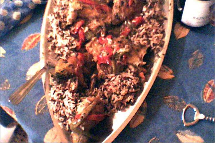 Sauté de poulet au basilic, lait de coco et poivrons