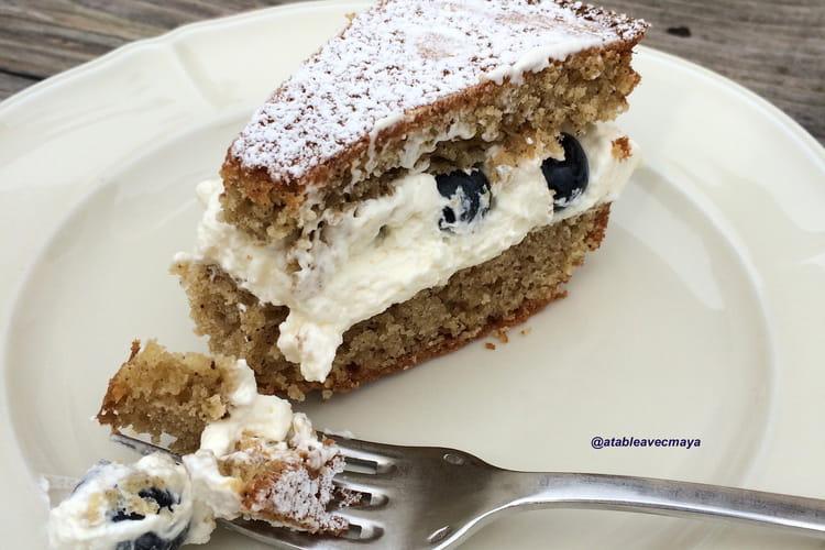 Gâteau Victoria sponge cake, crème mascarpone et fruits frais