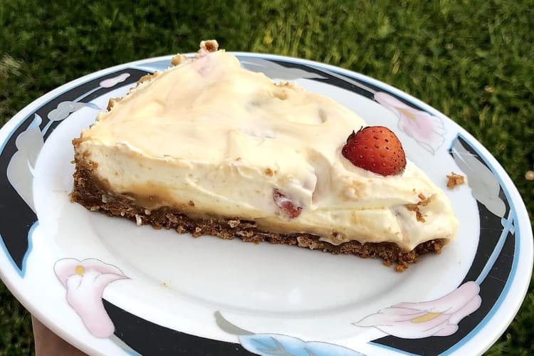 Cheesecake aux fraises et au caramel beurre salé