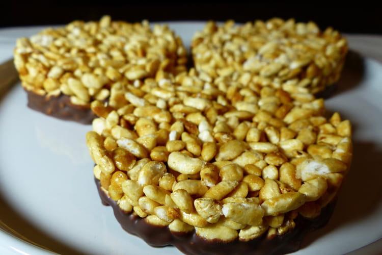 Galettes de riz soufflé caramélisées au chocolat