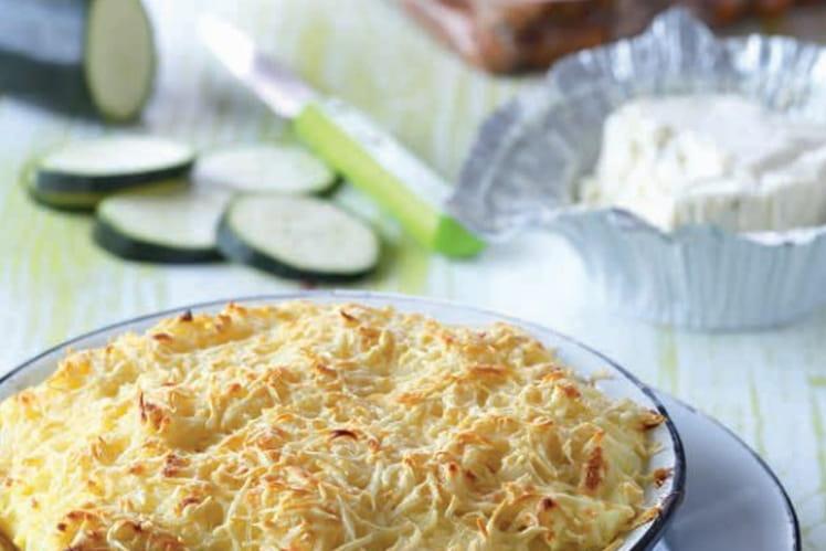 Gratin de purée, courgettes au fromage frais et Knacki ®