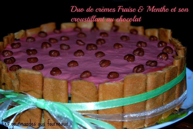 Duo de crème fraise & menthe, croquant au chocolat