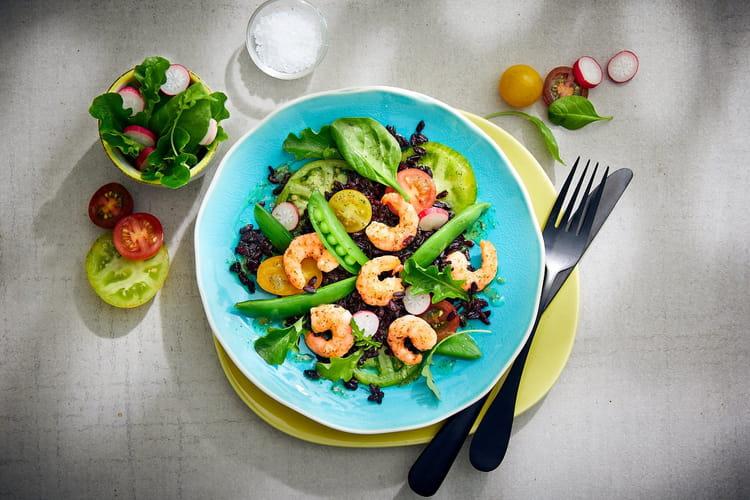 Salade de riz noir et crevettes d'Equateur provençales ASC