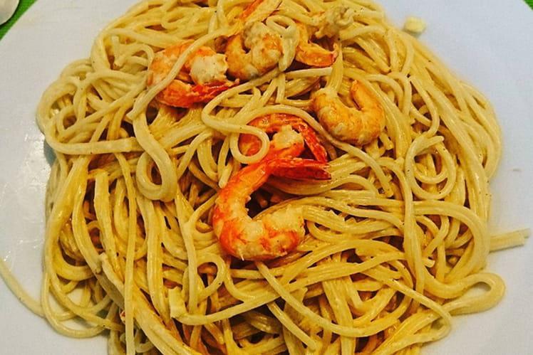 Pâtes Linguine aux crevettes et au gingembre
