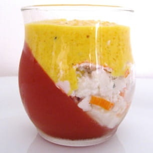 gelée de tomates sous crème de poivron