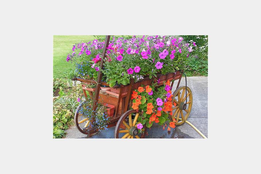 une charrette tr s fleurie des pots et jardini res qu 39 il fallait oser journal des femmes. Black Bedroom Furniture Sets. Home Design Ideas