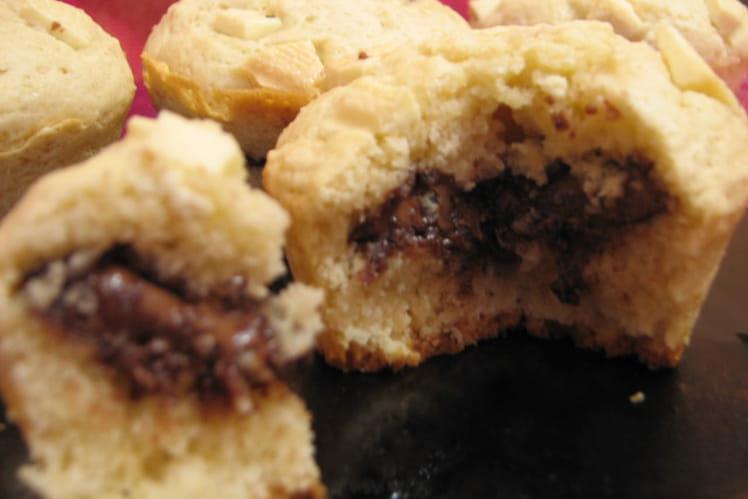Muffins coeur Nutella aux pépites de chocolat blanc