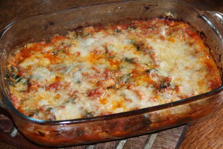 Gratin de blettes aux tomates cuisinées et au parmesan