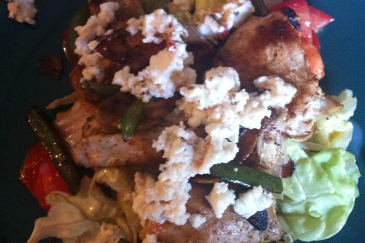 Salade chaude poulet feta amandes