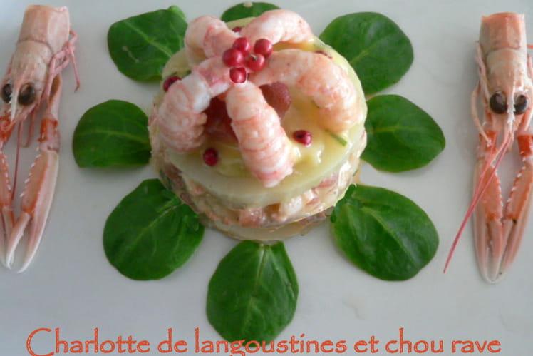 Charlotte aux langoustines et chou rave