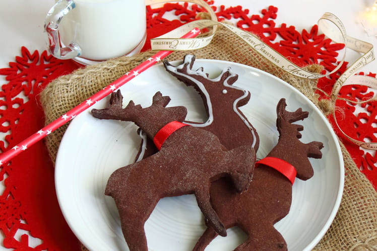 Biscuits Rennes de Noël au cacao