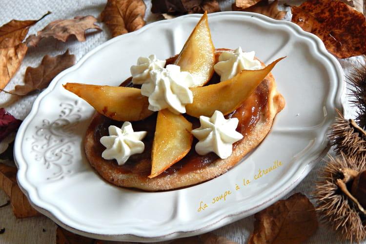Tartelettes aux poires rôties et crème de marrons de l'Ardèche