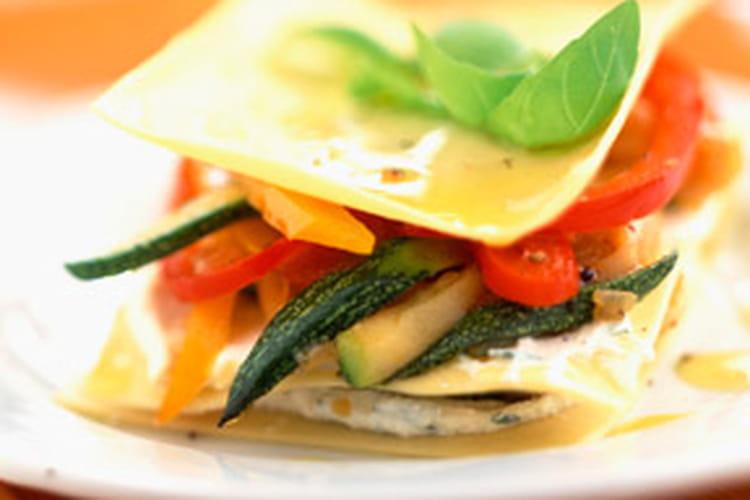 Lasagnes de courgettes, poivrons et fromage de chèvre