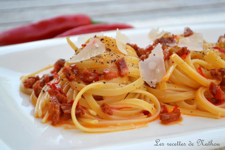 Pâtes Linguine au chorizo et piment rouge