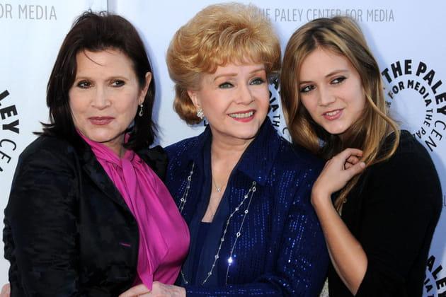 Avec sa mère Debbie Reynolds et sa fille Billie Lourd