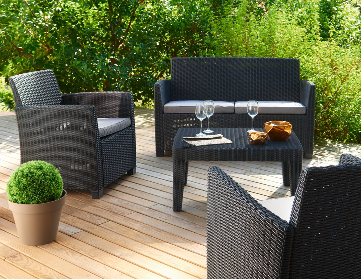 salon de jardin 4 personnes de gifi. Black Bedroom Furniture Sets. Home Design Ideas