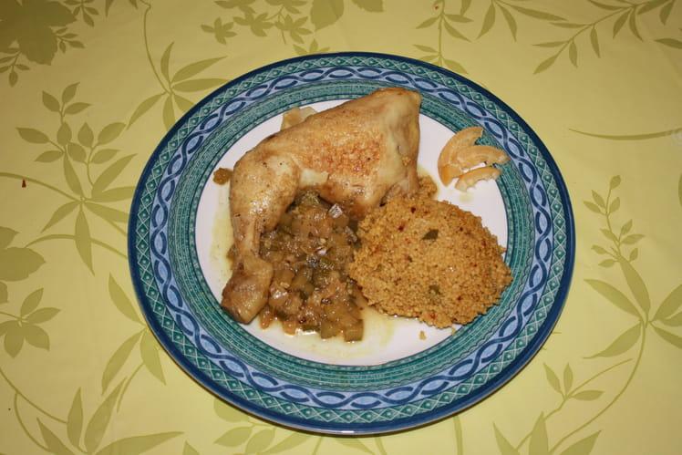 Tajine de poulet aux épices, courgette et citron confit