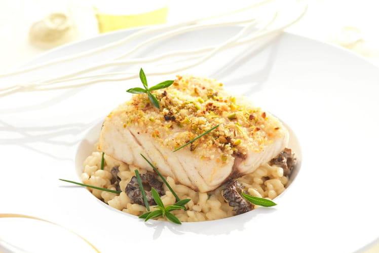 Filet de maigre, risotto aux morilles