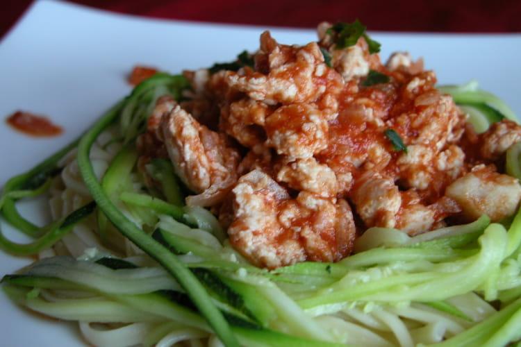 Spaghettis de courgettes et leur hachis de dinde