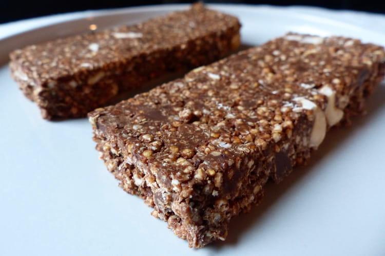 Barres chocolatées au quinoa soufflé