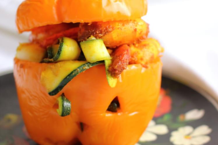 Poivrons farcis aux tagliatelles de courgettes et crevettes