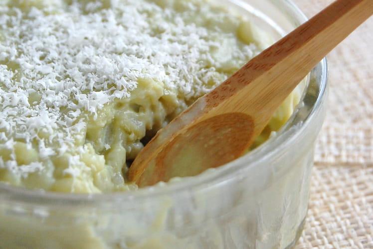 Riz au lait, matcha et chocolat blanc