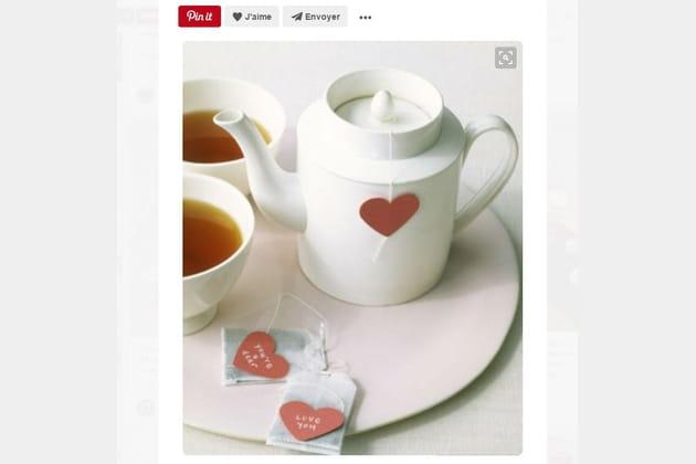 Sachets de thé avec cœur en papier