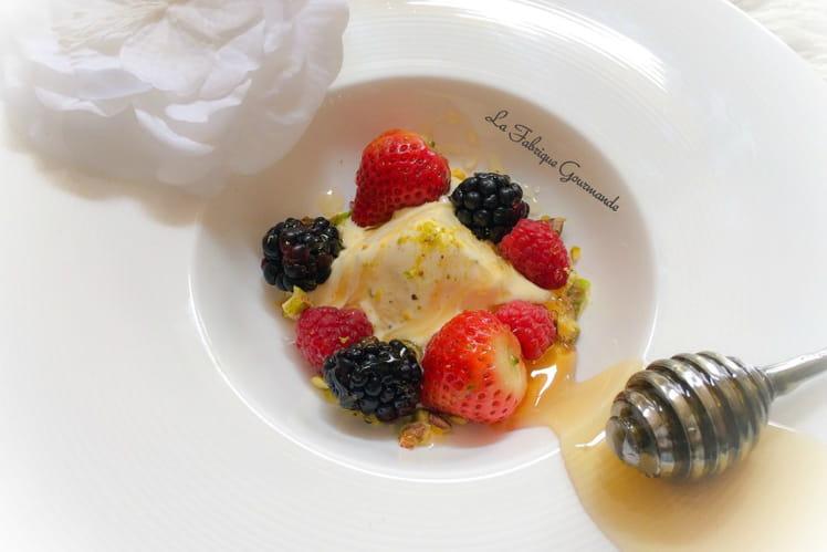Semifreddo à la fleur d'oranger miel et pistaches