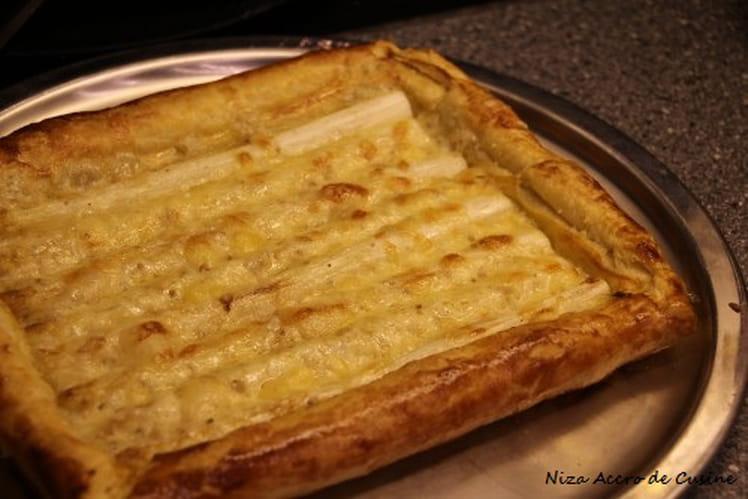Tarte aux asperges blanches et fromage aux noix
