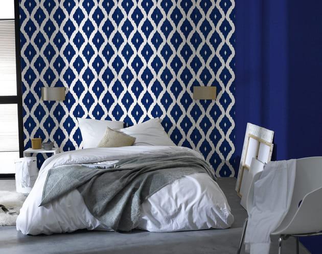 papier peint losange indigo 4 murs. Black Bedroom Furniture Sets. Home Design Ideas