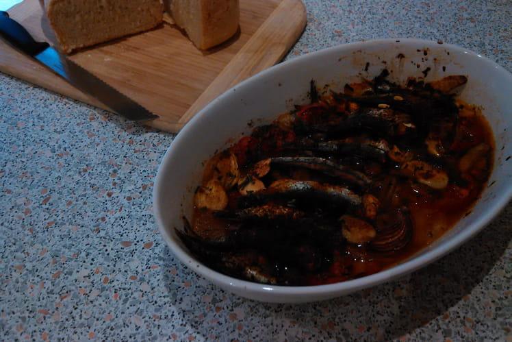 Sardines au four, tomates et pommes de terre