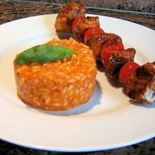 risotto rouge aux lardons