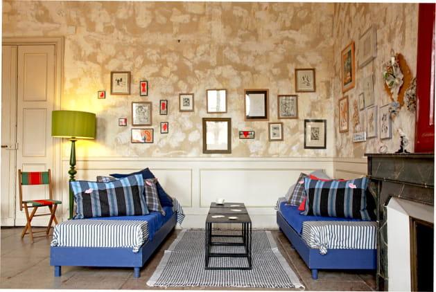 Salon à rayures bleuet
