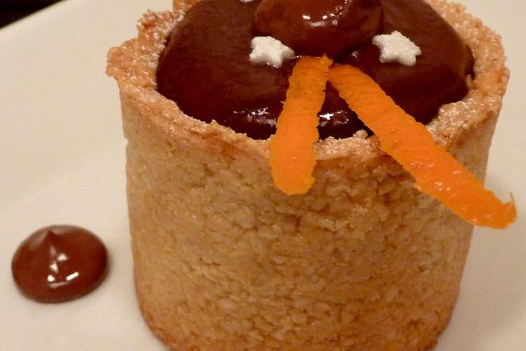 Cheesecake chocolat en croûte aux amandes