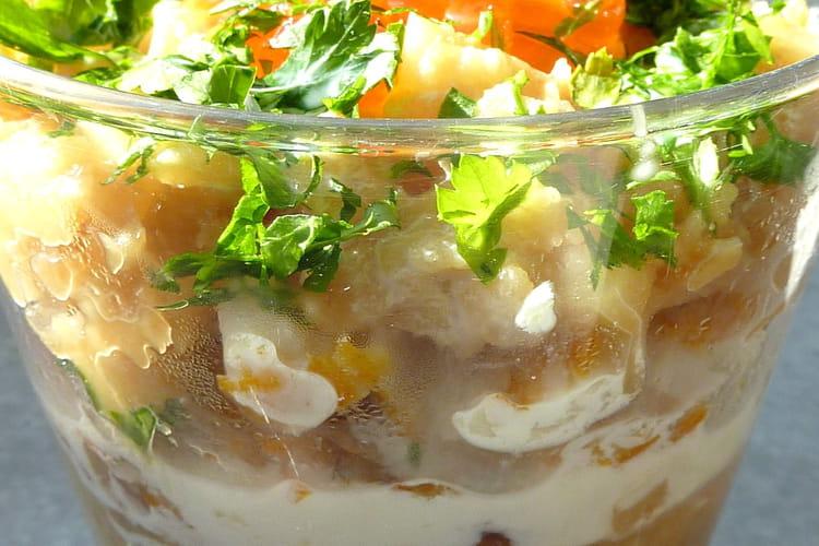 Mousse parmentière au haddock, crème aux herbes et oeufs de saumon