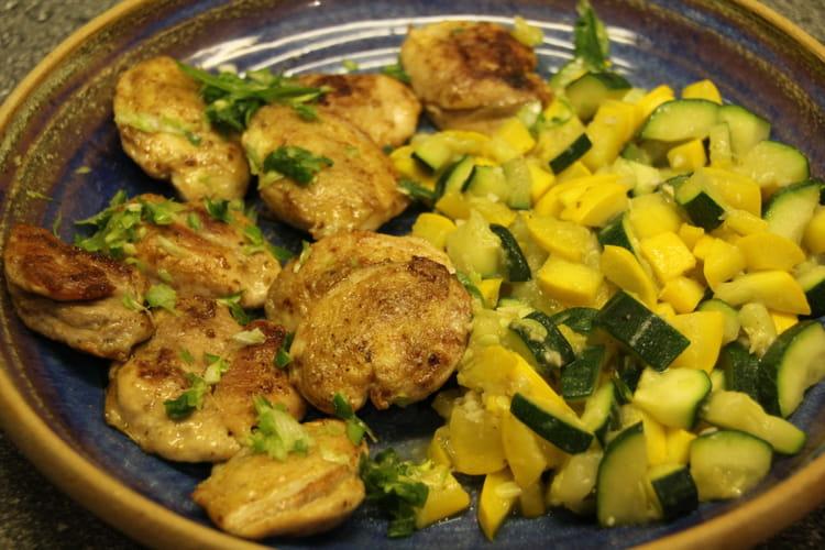 Filets de cailles grillés et courgettes au yuzu