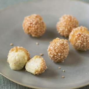 croquettes de chou fondantes vanille-sésame