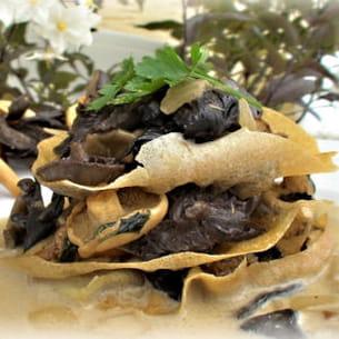 millefeuilles aux champignons des bois