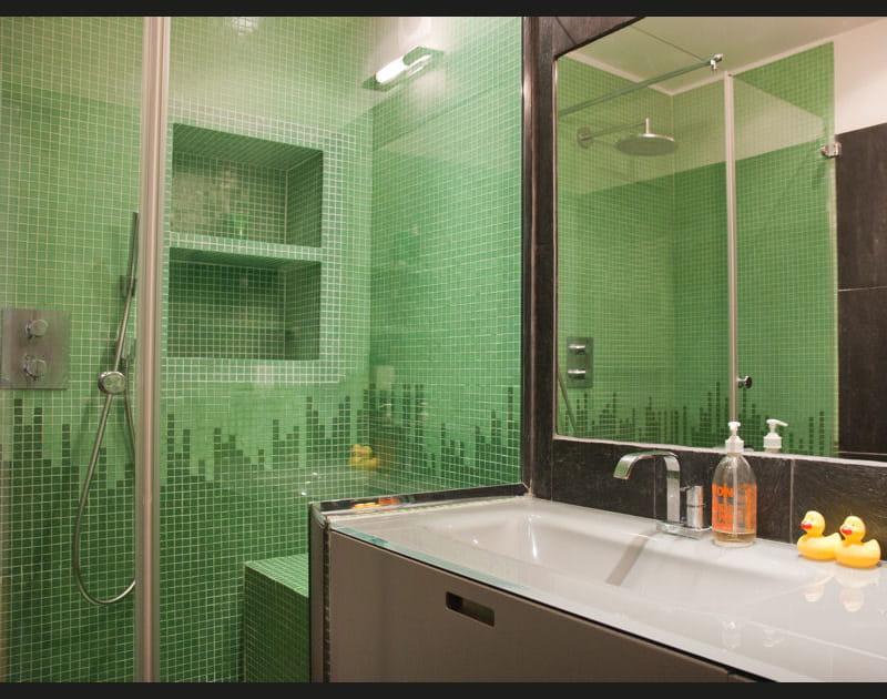 En ardoise et mosaïque vert d'eau