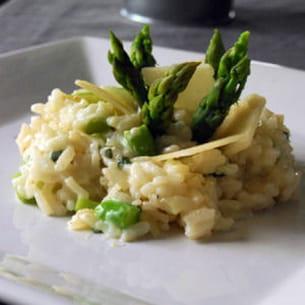 risotto aux asperges et chèvre frais