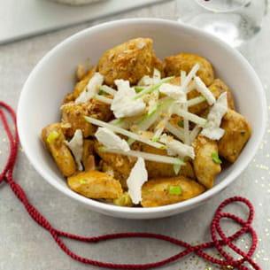 poulet curry et boursault®, crumble amande pomme