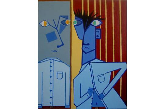 Homme bleu au miroir