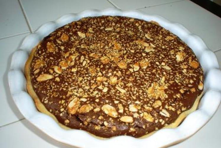 Tarte au chocolat et amandes émondées